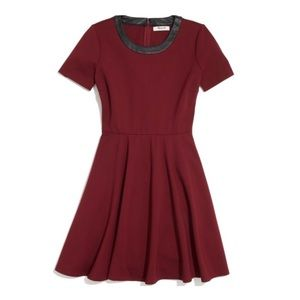 Madewell Leather Trim Tailored Dress Red  Pockets